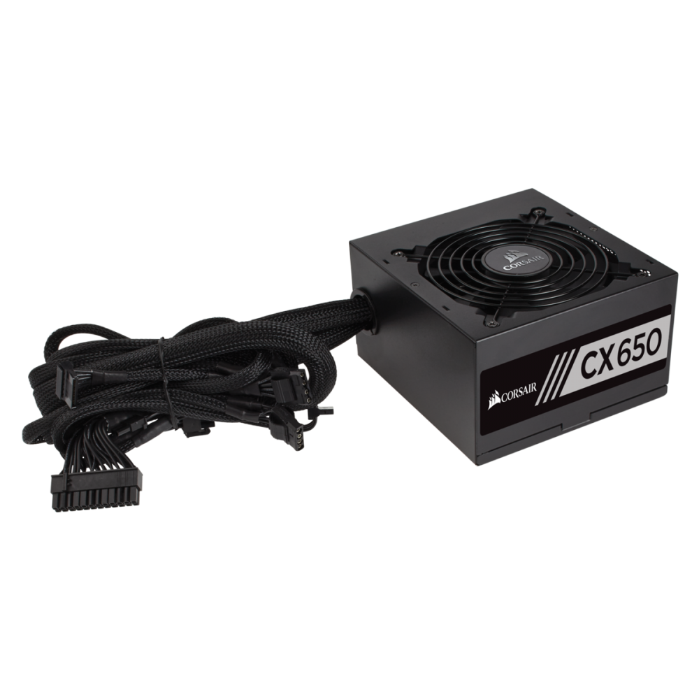 Nguồn Corsair CX650 - 650W 80 Plus - 1x24(20+4)pin + 1x8(4+4) pin ATV 12v + 1*6pin PCI-E + 1*8pin PCI-E, 3*SATA, Fan12