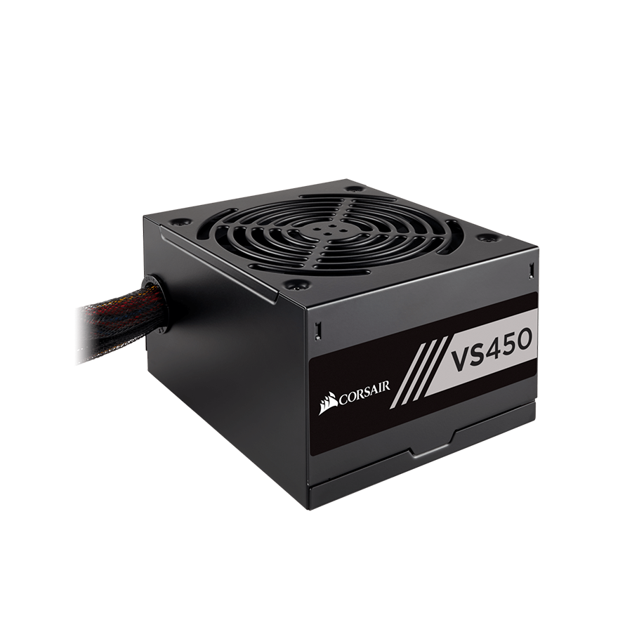 Nguồn Corsair VS450 - 450W 80 Plus - 1x24(20+4)pin + 1x8(4+4) pin ATV 12v + 1*6pin PCI-E + 1*8pin PCI-E, 3*SATA, Fan12